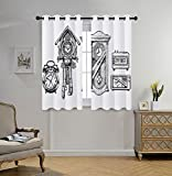 Cheap iPrint Stylish Window Curtains,Clock Decor,Vintage Clocks Set in Ink Hand Drawn Style Retro Decorative Illustration,Black and White,2 Panel Set Window Drapes,for Living Room Bedroom Kitchen Cafe