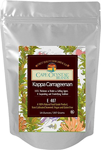 Kappa Carrageenan By Cape Crystal – Food Grade Natural Thickener, Stabilizer & Gelling Agent – Vegan – (K) Kosher Certified – Alternative To Gelatin – Great – For Molecular Gastronomy – 14oz