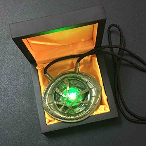 [Gmasking 2017 Metal Doctor Strange Necklace - Eye of Agamotto Light-up Costume Pendant Exclusive 1:1] (Dr Strange Modern Costume)