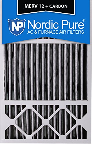 Furnace Carbon (Nordic Pure 16x25x5 (4-3/8 Actual Depth) Honeywell Replacement Pleated MERV 12 Plus Carbon AC Furnace Air Filter, Box of 2)