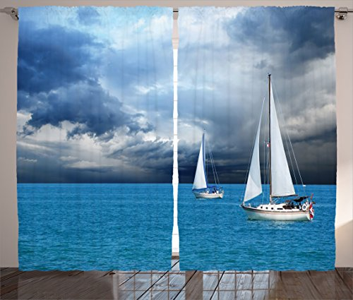 Ambesonne Sailboat Curtains, Sailing After a Storm Transportation Colorful Outdoors Hobby Cloudscape, Living Room Bedroom Window Drapes 2 Panel Set, 108