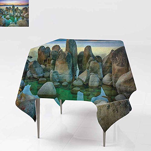 AndyTours Spill-Proof Table Cover,Lake,Various Sized Condensed Rocks in River at Evening Time When Lamps Down Marine Theme,Party Decorations Table Cover Cloth,50x50 Inch Grey Green ()
