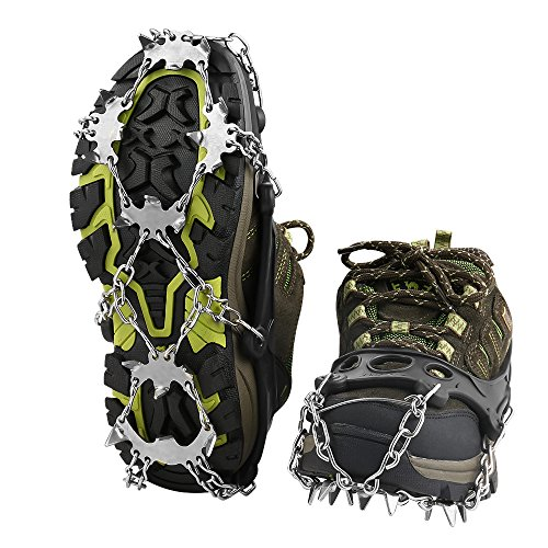 Terra Hiker 18 Teeth Crampons Stainless Steel Anti-Slip Traction Cleats Stabilizers for Walking Jogging or Hiking on Snow and Ice( Pack of 2) (L)