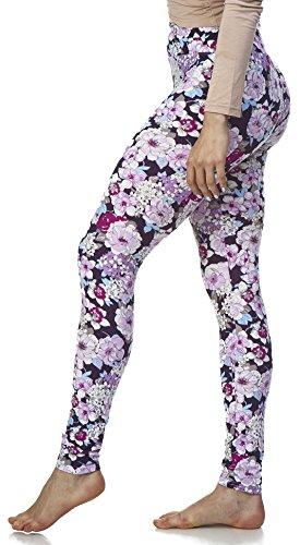 Purple Print Pant Set - LMB Lush Moda Extra Soft Leggings with Designs High Yoga Waist - Variety of Prints - 703YF Purple Floral B5