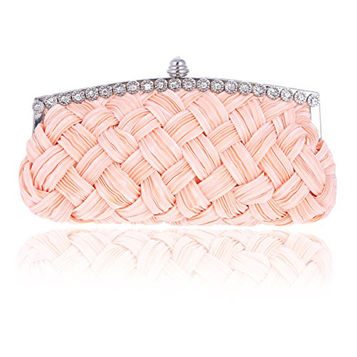 Fabric Damara Camel Satin Prom Woven Lady Soft Bag Clutch Crystal wwfI1Hvq