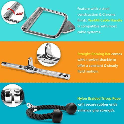 Yes4All Combo D Handle Cable Attachment, Rotating Straight Bar, and Tricep Rope/Tricep Pull Down Rope – Cable Bar for Strength Training by Yes4All (Image #3)