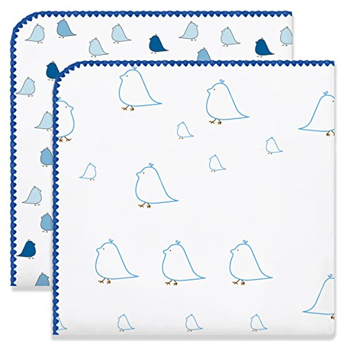 Ultimate Swaddling Swaddledesigns Blanket - SwaddleDesigns Ultimate Swaddles, Set of 2, X-Large Receiving Blankets, Made in USA Premium Cotton Flannel, Mama and Little Chickies, True Blue (Mom's Choice Award Winner)