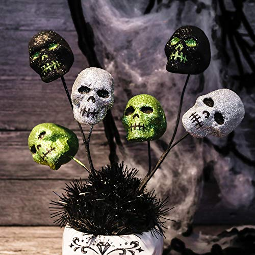 Valery Madelyn 6 Packs 12 inch Halloween Picks with Halloween Skull for Home and Tree Decor, Ghost for Halloween Party Decorations (Black, Silver, Green)