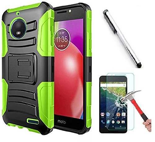 Luckiefind Case Compatible With Motorola Moto E4/XT1767, Dual Layer Hybrid Side Kickstand Cover Case With Holster Clip with Bundle Accessory (Holster Green)