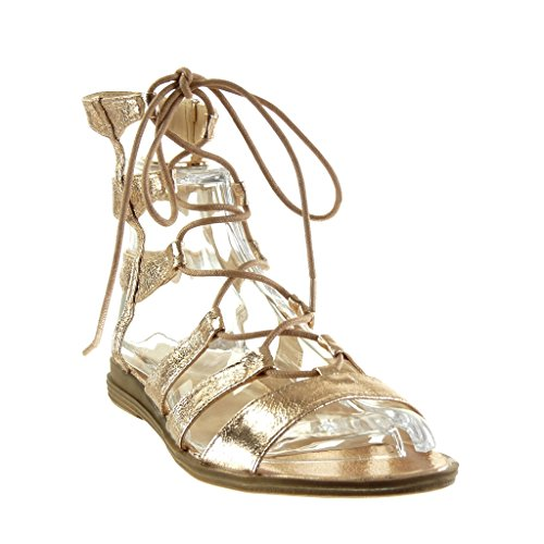 Angkorly - Chaussure Mode Sandale spartiates sexy femme brodé multi-bride Talon bloc 2 CM - Champagne
