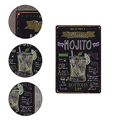 Shuda matr/ículas p/óster Vintage Metal Retro Simple Modelo de c/óctel Marco Vintage decoraci/ón Muro Cuadros Cocina para Bar Cafe casa decoraci/ón Mural Restaurante Size 20/* 30/cm