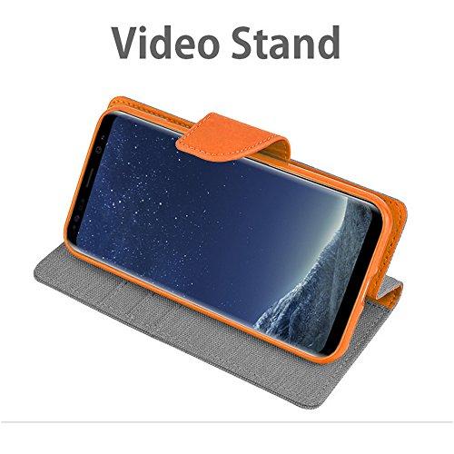 Funda Lona Galaxy A8 / A8 Plus 2018 Canvas Diario Flip Cover [Ranura para Tarjeta Wallet] Funda de Silicona Soft Magnet Hebilla [Bookstyle con Video Stand Function] para Samsung (Galaxy A8 2018, Gris) Gris