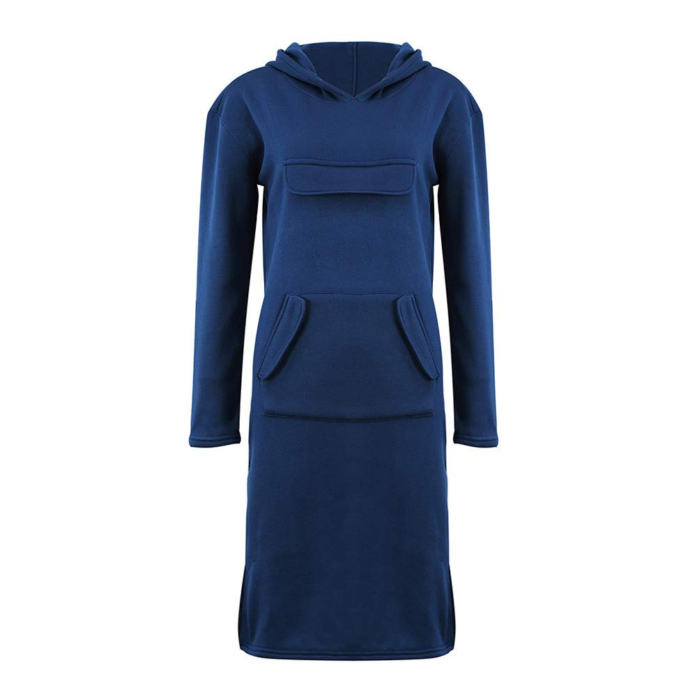 TUSANG Women Hoodies Shirts Fashion Casual Long Sleeve Hoodie Pocket Solid Pullover Slim Fit Sweatshirt Dress