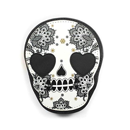 DDU(TM) 1Pc Black- Leather Retro Skull Printing Coin Purse Wallet Handbag Mini Shoulder Bag