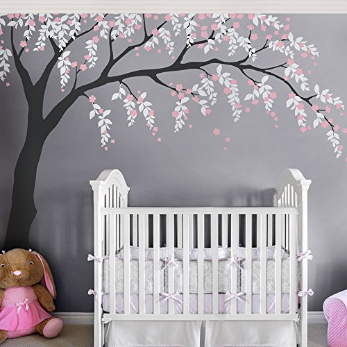 Weeping Willow Tree Decal with Cherry Blossoms - scheme B - by Simple Shapes ()