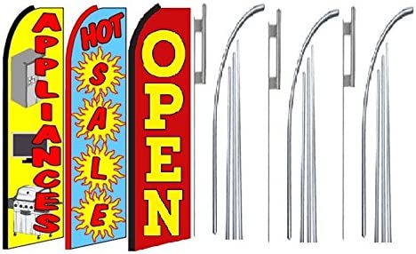 Hot Sale Open King Swooper Feather Flag Sign Kit with Pole and Ground Spike Appliances Pack of 3