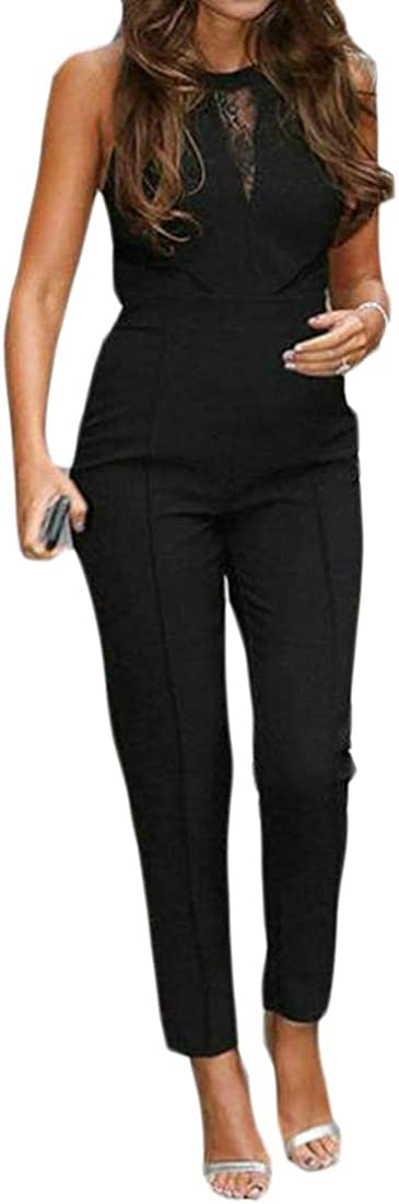 Fubotevic Womens Solid Color Sleeveless Crew Neck Lace Stitching Slim Fit Club Pa Jumpsuit Romper