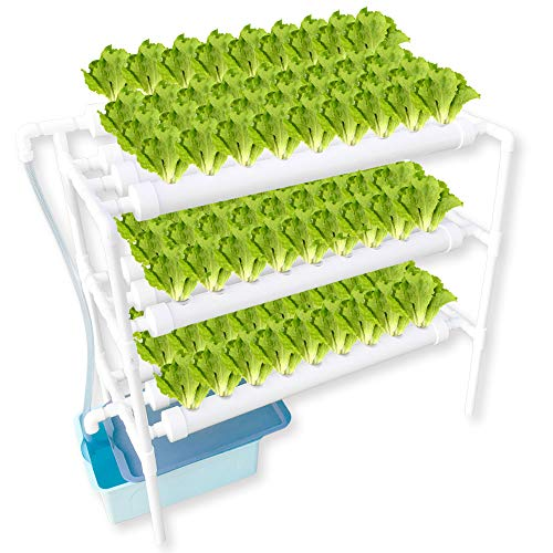 WePlant Hydroponics Nft System with 90 Holes Kits,Vertical Hydroponics PVC Pipe Plant Vegetable with Mute Pump and Sponge