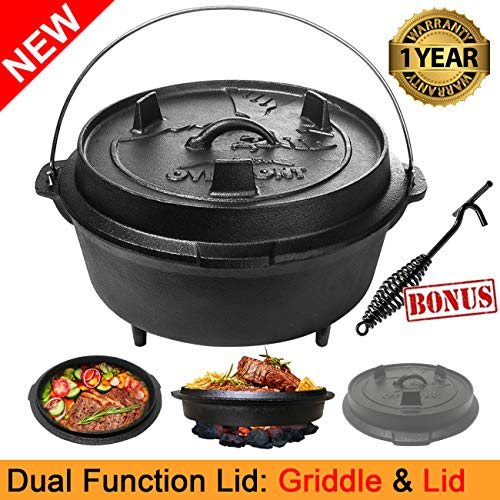Overmont 9 Quart All-Round Dutch Oven【Dual Function : Lid Griddle】【with Lid Lifter】【Pre Seasoned】 Cast Iron Dutch Oven for Camping Cooking BBQ Baking by Overmont