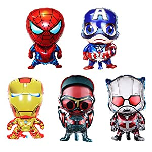 5-pack Superhero Birthday Party Mylar Foil Balloon Avengers Super Hero Birthday Party Supplies Party Decorations