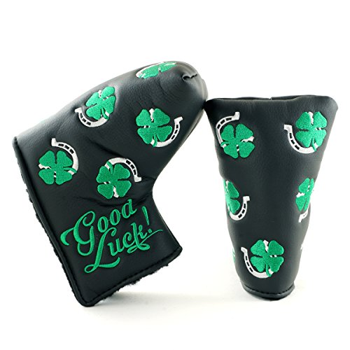 (19th Hole Custom Shop Clover and Horseshoe Headcover for Midsize Mallet Putter, Black, Golf Head Cover)