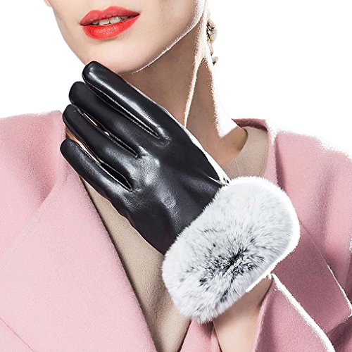 CASF Women's Winter Genuine Leather Gloves For Ladies Rabbit Fur Cuff Black M