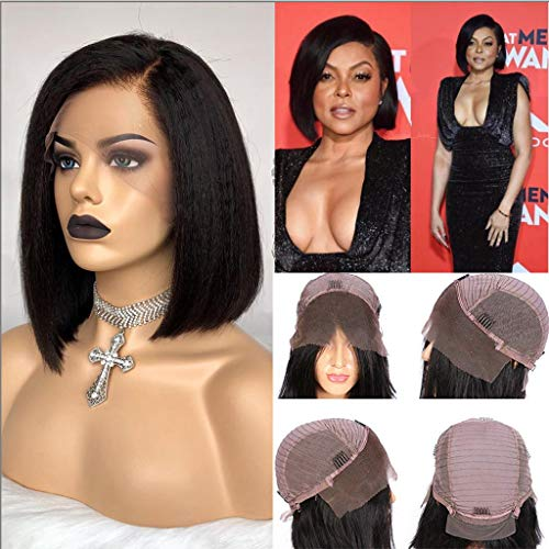 Kinkly Straight Wig Short Bob Human Hair Lace Front Wigs Pre Plucked Yaki Straight 150% Density Lace Front Human Hair Bob Wigs for Black Women 12 Inch
