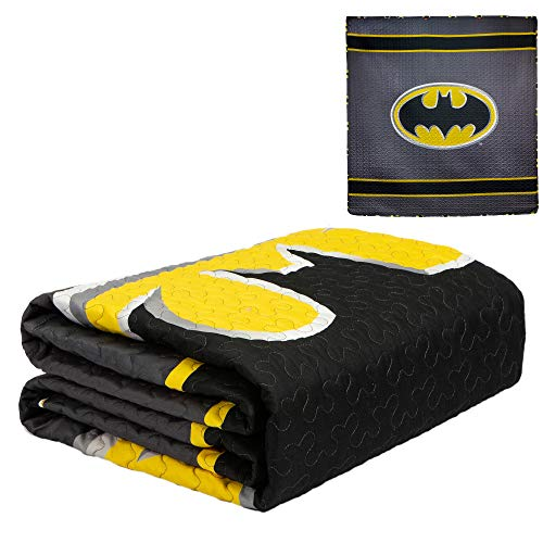 JPI DC Comics Batman Emblem Reversible Full/Queen Quilt Bedspread - Gray and Black - Officially Licensed - Super Soft & Light - 86'' x 86'' - 100% Polyester