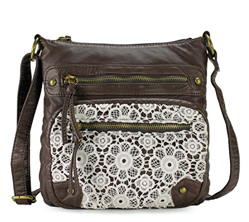 Scarleton Small Lace Crossbody Shoulder Bag for Women, Ultra Soft Washed Vegan Leather, Coffee, H191221