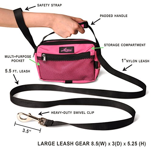Dog Leash With Built In Plastic Bag Dispenser And Storage Compartment