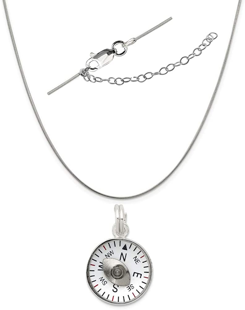925 Sterling Silver 3D Moveable Compass Charm and Pendant