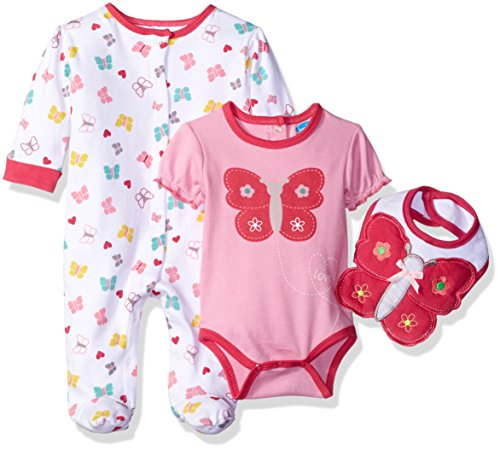 Bon Bebe Baby Girls' 3 Piece Take Me Home Set With Coverall Rear Snap Bodysuit and Bib