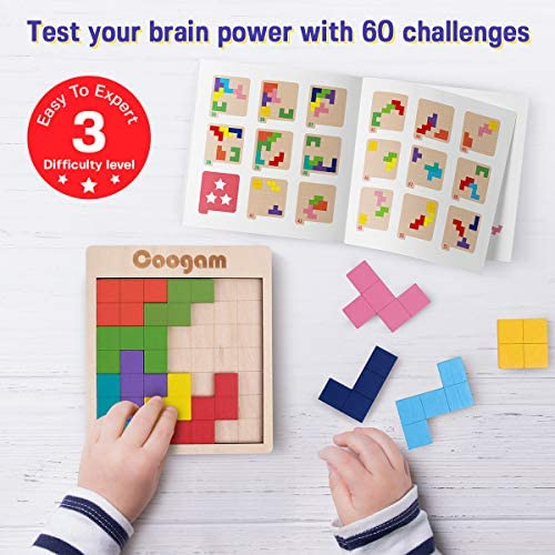 Coogam Wooden Tangram Puzzle Pattern Blocks Brain Teasers Game with 60 Challenges, 3D Russian Building Toy Wood Shape Jigsaw Puzzles Montessori STEM Educational Toys Gift for Kids Adults