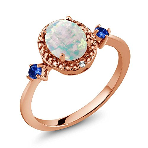 1.22 Ct Oval Cabochon White Simulated Opal Blue Sapphire 18K Rose Gold Plated Silver Ring With Accent - Ct 1.22 Diamond Radiant