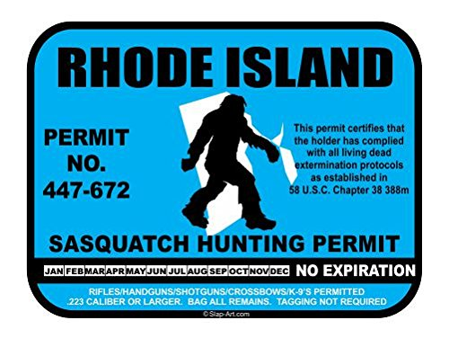 Rhode Island Sasquatch Hunting Permit License Bigfoot Vinyl Sticker Decal