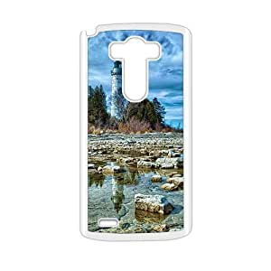 Forest Tower And Water Strone White Phone Case for LG G3