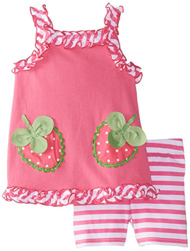 Young Hearts Baby Girls' 2 Piece Strawberry Short Set, Pink, 24 Months