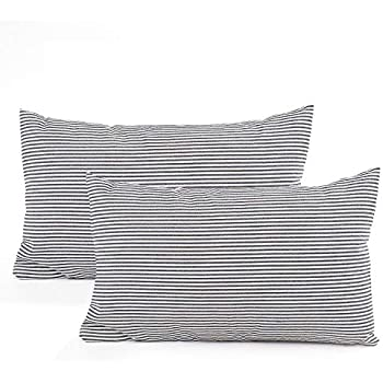 Amazon Com Comho Pack Of 2 Cotton Woven Striped Lumbar