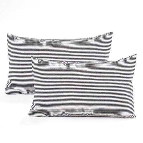 (COMHO Pack of 2, Cotton Woven Striped Lumbar Throw Pillow Covers Set, Nautical Decorative Cushion Covers, Farmhouse Pillowcases, for Sofa Bedroom Car Chair 12x20 Inch/30x50 cm (Black))