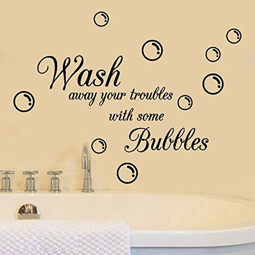 Inspirational Quotes Wall Stickers, E-Scenery Wash Away Your Troubles with Some Bubbles Peel and Stick DIY 3D Wall Decals Mural Art Wallpaper for Kids Room Home Nursery Party Window Decor, Black