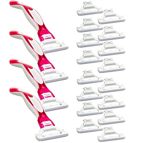 womens-triple-blades-4-handles-20-replacement-cartridges-safety-razor-disposable-bulk-pack