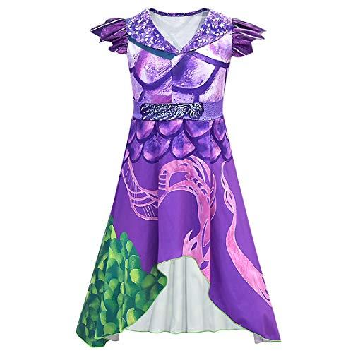 Wenge Descendants 3 Dragon Mal Costume for Girls, Audrey Halloween Costume Kids Halloween Cosplay (120cm(7-8T), Purple)