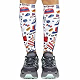 Zensah Compression Leg Sleeves – Helps Shin Splints, Leg Sleeves for Running (X-Small/Small, Chicago Doodle)