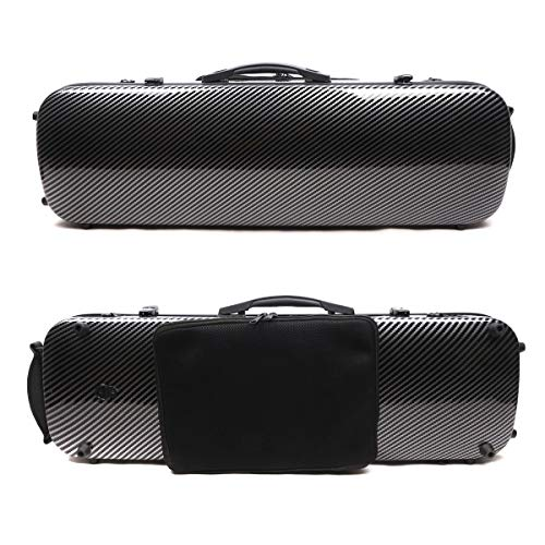 (4/4 New violin Case Carbon fiber Fiberglass Oblong case Strong Light Full size music Sheet Bag (black))