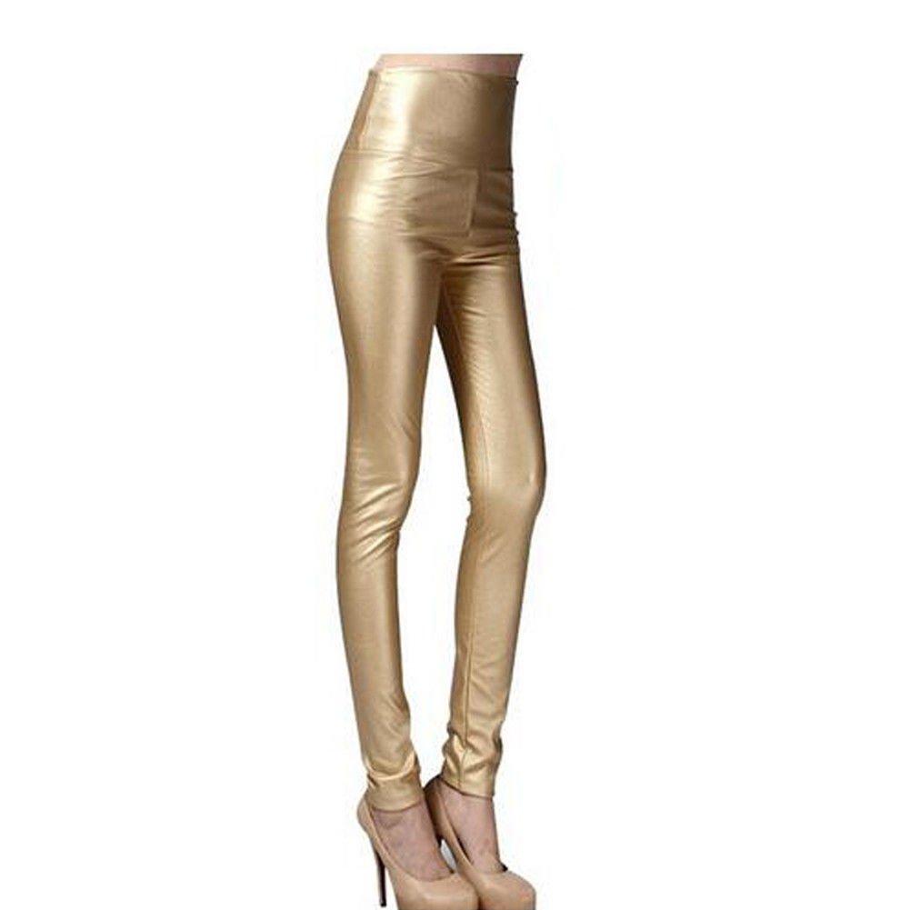 Ecopelle pelle Leggings Legging Legings legins Pantaloni Cachi In Vita Pantaloni