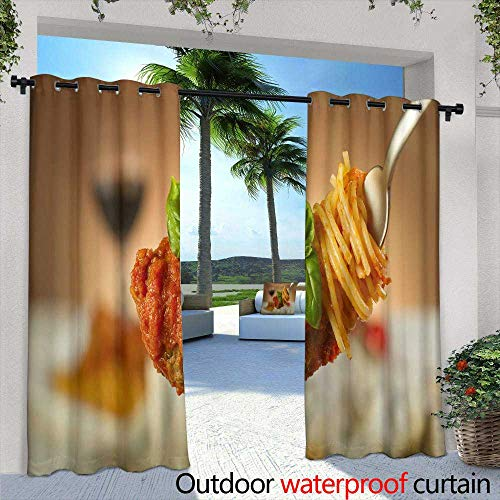 Bobbi Tray - Lightly Patio Curtains,Food Tray with Delicious Salami Pieces of Sliced ham Sausage Tomatoes Salad and Vegetable,W84 x L108 Outdoor Curtain for Patio,Outdoor Patio Curtains