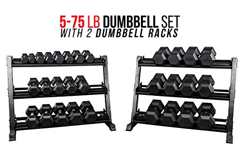 Rep 5-75 lb Rubber Hex Dumbbell Set with 2 Racks
