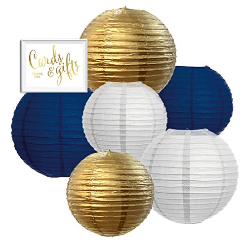 Andaz Press Hanging Paper Lanterns Party Decor Trio Kit with Gold Party Sign, White, Gold, Navy Blue, 6-Pack, For Hanukkah, Nautical Wedding, Classroom Decorations -