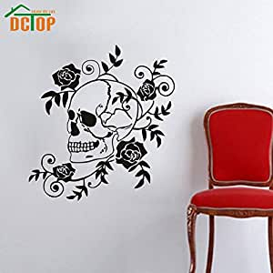 flowers wall decals roses flowering art skull living room decor