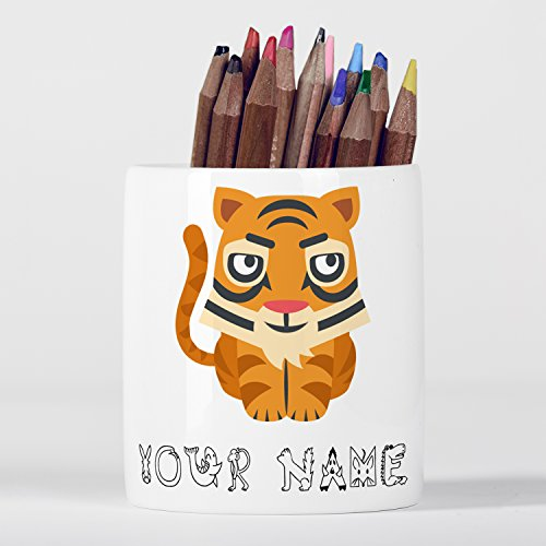 Personalised Tiger Cute Animal Zoo Children Customizable Pencil pot (Personalised Tiger)